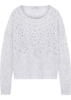 Autumn Cashmere Woman Mélange Pointelle-knit Cashmere And Silk-blend Sweater Light Gray