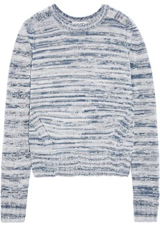 Autumn Cashmere Woman Pointelle-trimmed Marled Cashmere Sweater Blue