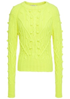 Autumn Cashmere Woman Pompom-embellished Cable-knit Cashmere Sweater Bright Yellow