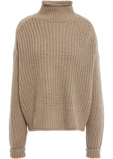 Autumn Cashmere Woman Ribbed-knit Turtleneck Sweater Mushroom