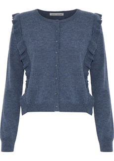Autumn Cashmere Woman Ruffle-trimmed Cashmere Cardigan Navy
