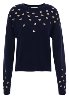 Autumn Cashmere Woman Sequin-embellished Cashmere Sweater Navy