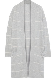 Autumn Cashmere Woman Striped Cashmere Cardigan Gray