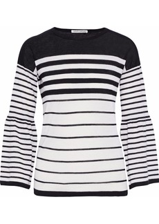 Autumn Cashmere Woman Striped Cashmere Sweater Black