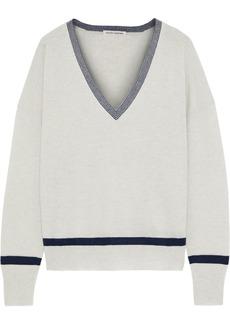 Autumn Cashmere Woman Striped Cashmere Sweater Light Gray