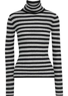 Autumn Cashmere Woman Striped Ribbed Cashmere Turtleneck Sweater Black
