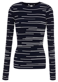 Autumn Cashmere Woman Striped Ribbed-knit Sweater Navy