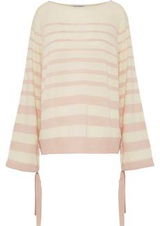 Autumn Cashmere Woman Tie-detailed Striped Cashmere Sweater Ecru