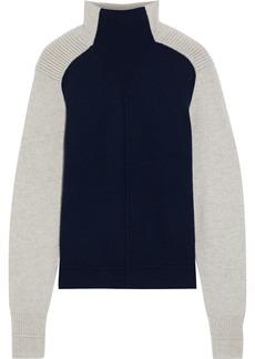 Autumn Cashmere Woman Two-tone Cashmere Turtleneck Sweater Navy