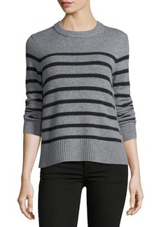 Autumn Cashmere Cashmere Breton-Stripe Side-Button Sweater