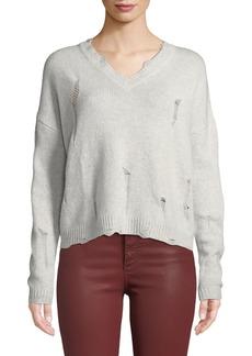 Autumn Cashmere Distressed V-Neck Boxy Cashmere Sweater