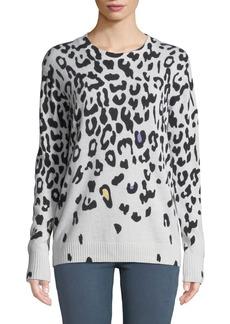 Autumn Cashmere Leopard-Print Cashmere Crewneck Sweater