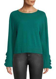 Autumn Cashmere Ruffle-Sleeve Crewneck Cashmere Pullover Sweater