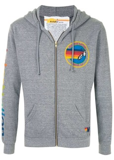 Aviator Nation logo print zip-front hoodie
