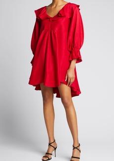 Azeeza Cardon Ruffle Trapeze Mini Dress