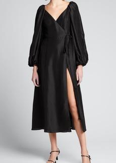Azeeza Evette Blouson-Sleeve Wrap Dress
