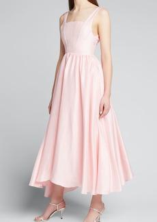 Azeeza Mira Square-Neck Silk Dress