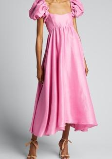 Azeeza Rory Puff-Sleeve Silk Midi Dress