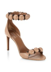 Azzedine Alaia Leather Bombe Ankle Strap Sandals