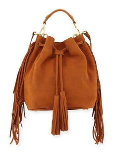 B Brian Atwood Everly Drawstring Leather Saddle Bag with Fringe Trim