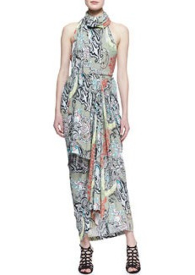 Etro Scarf-Neck Menagerie Printed Long Dress   Scarf-Neck Menagerie Printed Long Dress