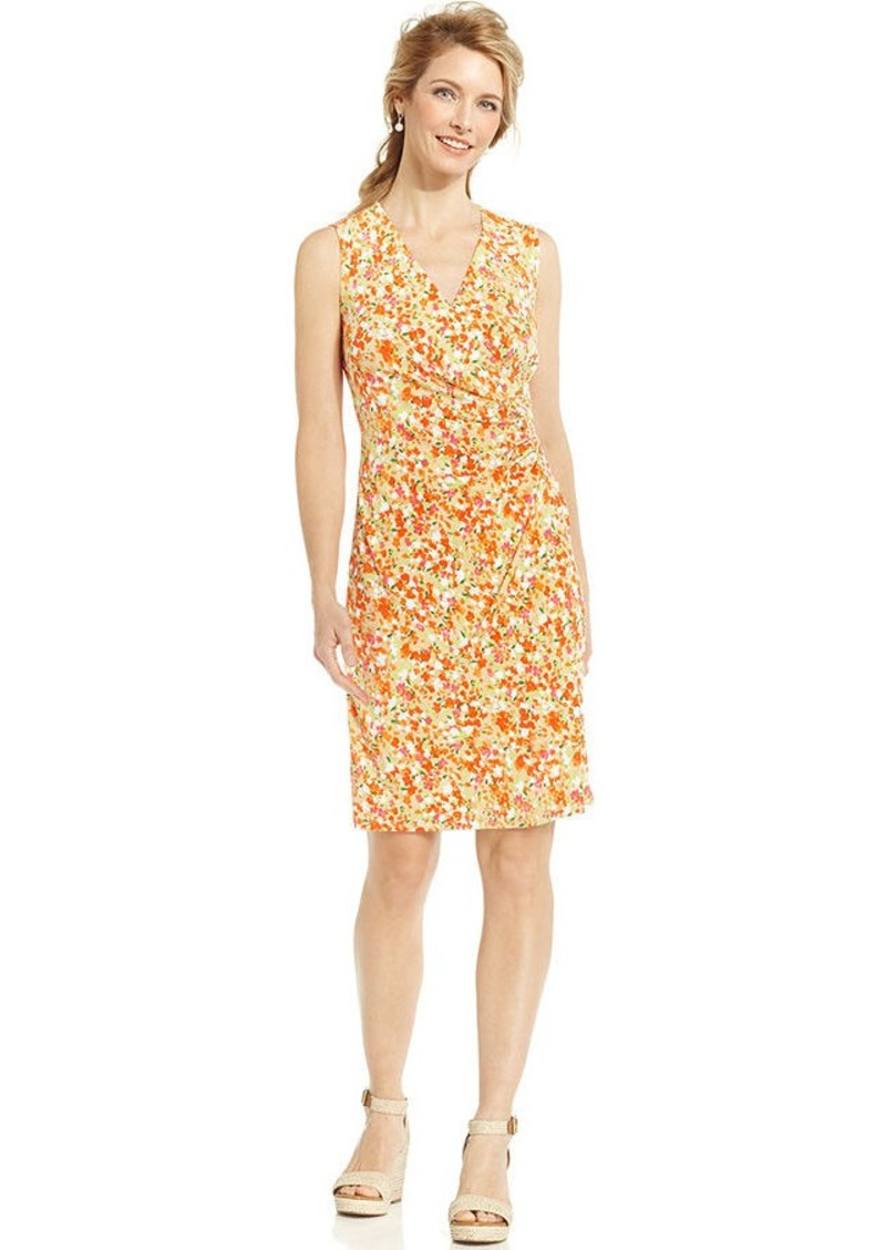 Charter Club Petite Sleeveless Floral-Print Faux-Wrap Dress