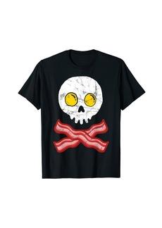 Bacon Crossbones & Sunnyside Up Eggs Skull Funny Breakfast T-Shirt