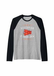 Bacon Shirt - Vegetarian If Bacon Grew on Trees- Funny Shirt Raglan Baseball Tee