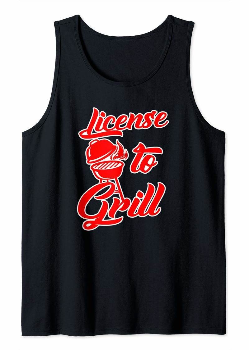Bacon BBQ Gift Print Mens Grilling License To Grill Tank Top