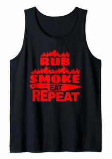 Bacon BBQ Gift Print Mens Grilling Rub Smoke Eat Repeat Tank Top
