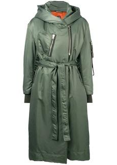 Bacon hooded belted rain coat