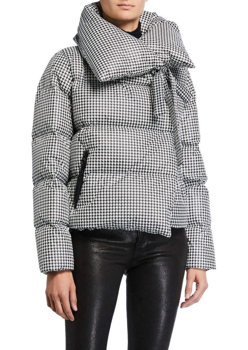 Bacon Tie-Collar Houndstooth Puffer Coat