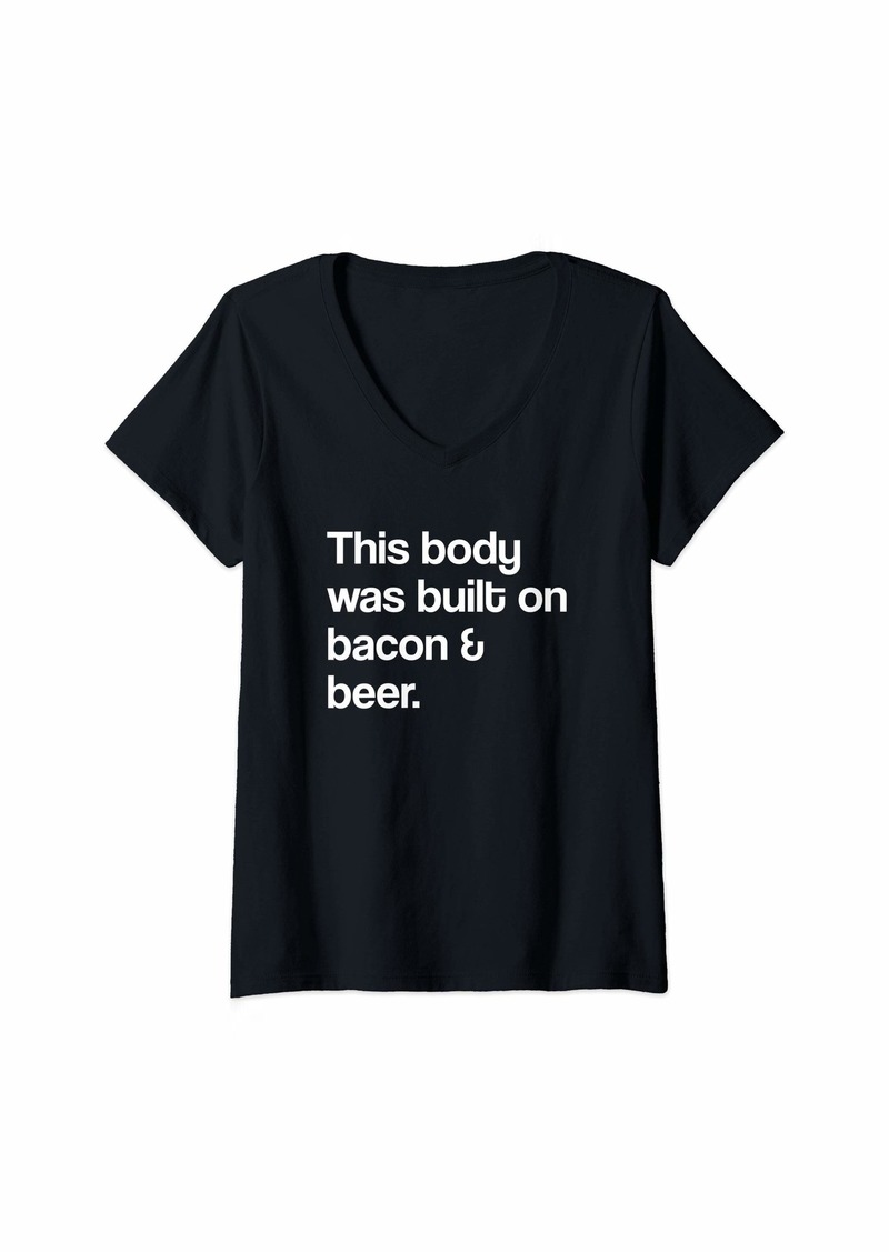Womens Bacon and Beer V-Neck T-Shirt