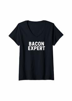 Womens Bacon Expert V-Neck T-Shirt