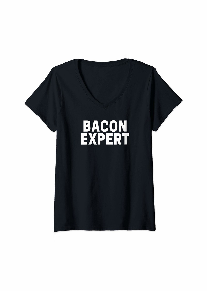 Womens Bacon Expert V-Neck T-Shirt