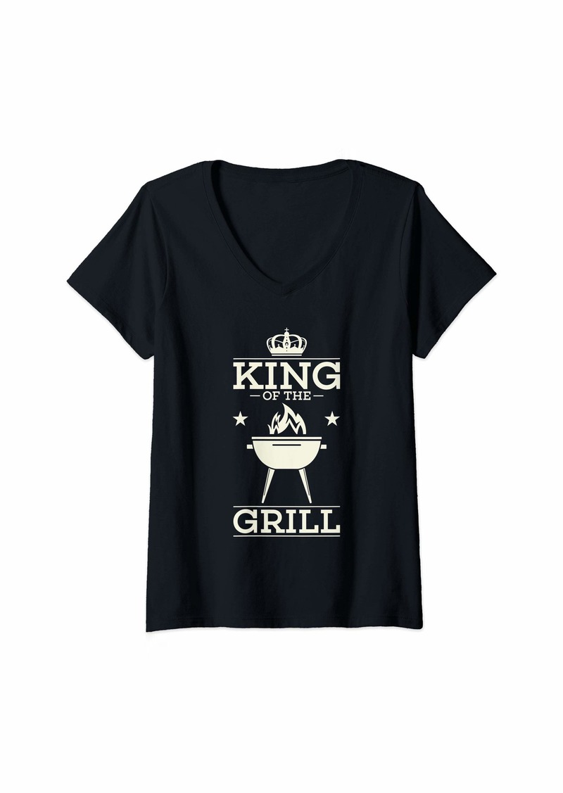 Bacon Womens BBQ Gift Print Mens Grilling King Of The Grill V-Neck T-Shirt