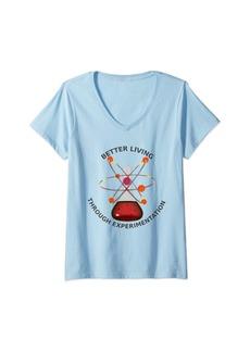 Bacon Womens Better Living Through Experimentation Funny Science V-Neck T-Shirt