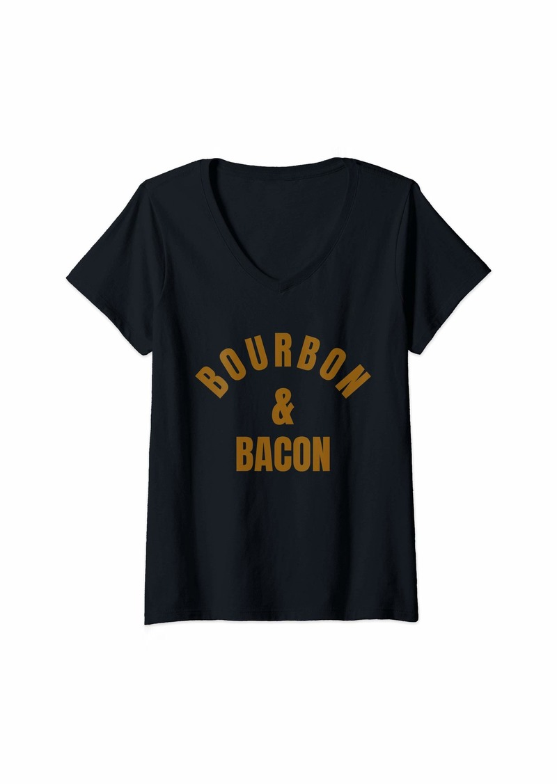 Womens Bourbon and Bacon Tee- for the bacon and bourbon lover V-Neck T-Shirt