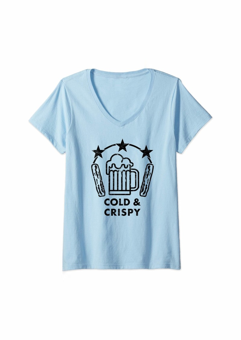 Womens Cold Beer and Crispy Bacon V-Neck T-Shirt