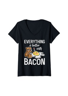 Womens Everything is better with Bacon lover V-Neck T-Shirt