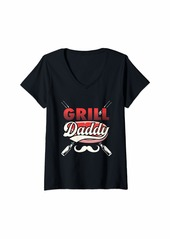 Bacon Womens Grill Daddy BBQ Gift Print Mens Grilling V-Neck T-Shirt