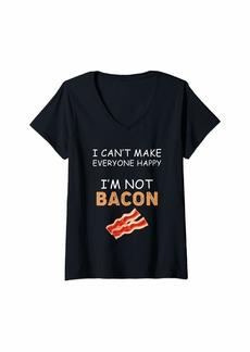 Womens I Can't Make Everyone Happy I'm Not Bacon T Shirt Kids Teens V-Neck T-Shirt
