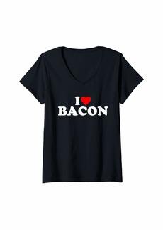 Womens I Love Bacon - Heart V-Neck T-Shirt