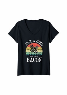 Womens Just A Girl Who Loves Bacon Gift V-Neck T-Shirt