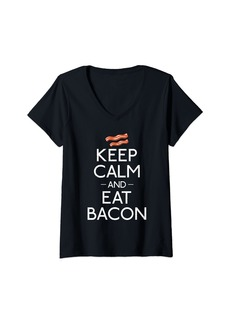 Womens Keep Calm and Eat Bacon lover V-Neck T-Shirt