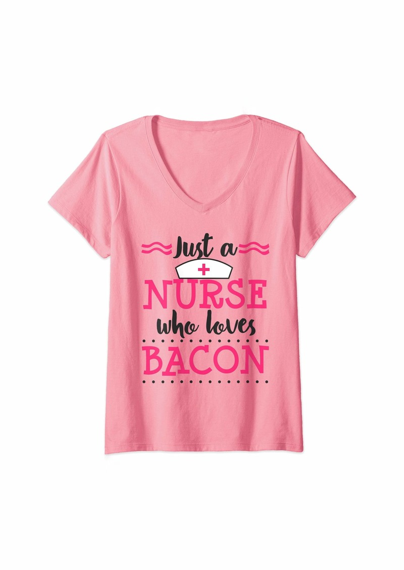 Womens Nurse Loves Bacon Funny RN CNA Nursing Student Graduation V-Neck T-Shirt