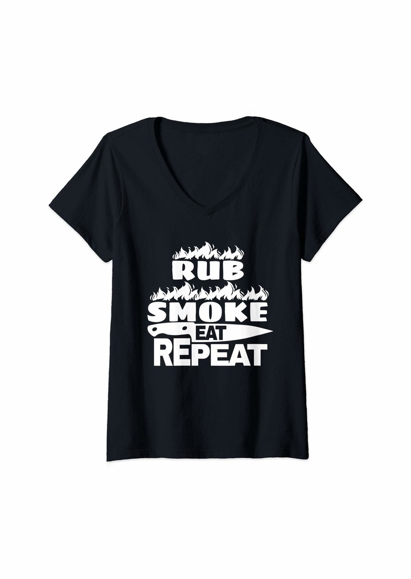 Bacon Womens Rub Smoke Eat Repeat BBQ Gift Print Mens Grilling V-Neck T-Shirt