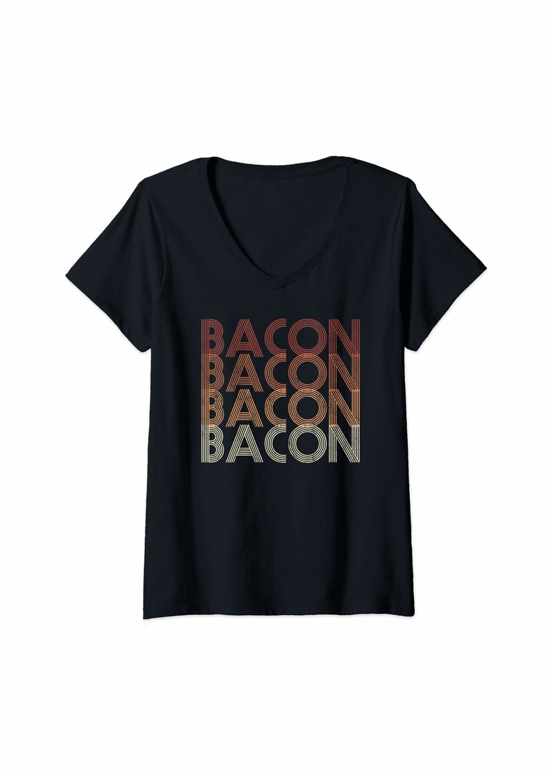 Womens Vintage 70s Bacon V-Neck T-Shirt