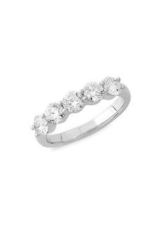 Badgley Mischka 14K White Gold & 2 TCW Lab-Grown Diamond 5-Stone Anniversary Ring Band