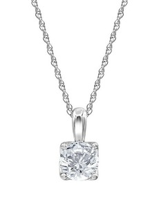 Badgley Mischka 14K White Gold & 1.50 TCW Lab-Grown Diamond Solitare Pendant Necklace